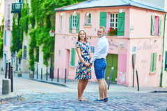 Romantic couple having a date on Montmartre Royalty Free Stock Photo