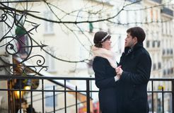 Couple having a date in Paris Stock Photography