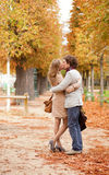 Romantic couple having a date in Tuilleries garden Stock Photography