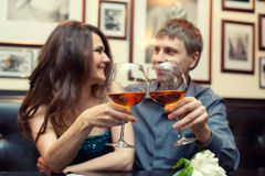 Romantic couple having dinner Royalty Free Stock Image