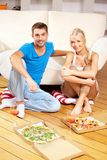 Romantic couple having dinner Stock Photos