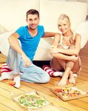 Romantic couple having dinner Stock Images