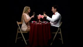 Romantic couple having dinner, clinking glasses stock video footage