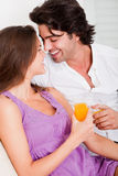 Romantic couple having drink Royalty Free Stock Photography