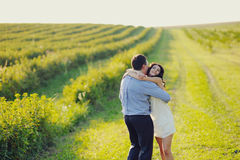 Romantic couple embrace Royalty Free Stock Image