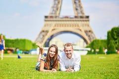 Romantic couple having near the Eiffel tower in Paris Stock Photo