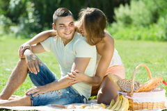 Romantic couple having picnic Stock Photography