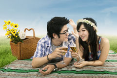 Romantic couple having a wine toast Royalty Free Stock Photos