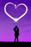 Romantic couple with heart royalty free illustration