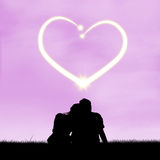Romantic couple with heart symbol Royalty Free Stock Image