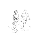 Romantic Couple Hold Hand Walking Man And Woman Sketch Stock Image
