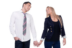 Romantic couple holding hands Stock Image