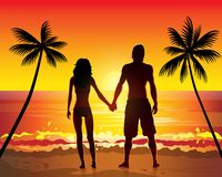 Romantic couple holding hands on beach sunset Stock Photo