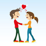 Romantic couple holding hands Stock Images
