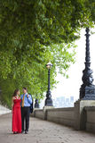 Romantic Couple Holding Hands in London, England Stock Photo