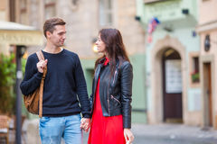 Romantic couple on holidays in Europe. Happy family enjoying vacation on their honeymoon. Happy tourist couple, men and women traveling on holidays in Europe royalty free stock photos