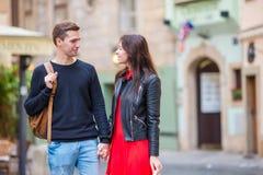 Romantic couple on holidays in Europe. Happy family enjoying vacation on their honeymoon Royalty Free Stock Photos