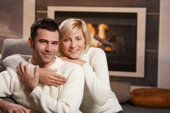 Romantic couple at home Royalty Free Stock Photos