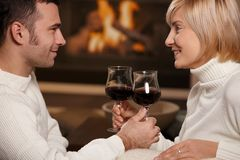 Romantic couple at home Stock Images