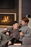 Romantic couple at home stock photography