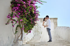 Romantic couple in honeymoon in Sperlonga, Italy Royalty Free Stock Images
