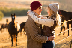 Romantic couple horse farm Stock Photo