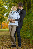 Romantic couple hugging Stock Images