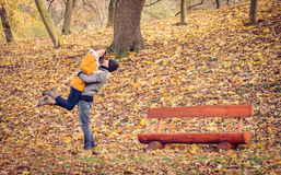 Romantic couple hugging in autumn park Stock Photography