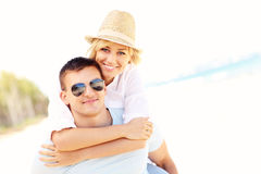 Romantic couple hugging at the beach Royalty Free Stock Image