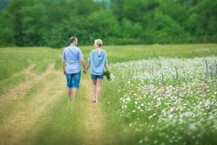Romantic couple hugging and breathing fresh air in a warm field with daizy flowers. Romantic couple hugging and breathing fresh air in a warm field with daysy stock image