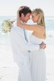 Romantic couple hugging each other on their wedding day Royalty Free Stock Photography