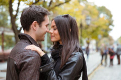 Romantic couple hugging outdoors Royalty Free Stock Images
