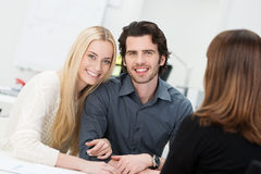 Romantic couple in an interview Royalty Free Stock Photo