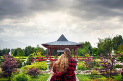 Romantic Couple in Japanese pagoda stock photos