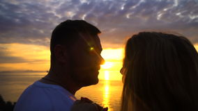 Romantic Couple Kiss at Sunset. Shot with a Sony a6300 29,9 fps stock footage