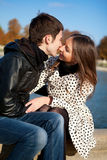 Romantic couple kissing. Romentic couple kissing in autumn park stock image