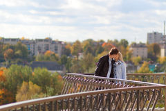 Romantic couple kissing in autumn park Royalty Free Stock Photos