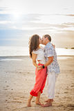 Romantic Couple Kissing on the Beach Portrait Royalty Free Stock Image