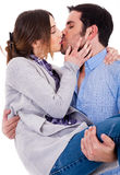 Romantic couple kissing each other Stock Photography