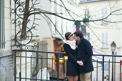 Romantic couple kissing on Montmartre Royalty Free Stock Photo