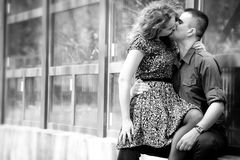 Romantic couple kissing with passion. Outdoors Royalty Free Stock Photography