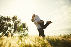 Romantic couple kissing. Summer outdoor Stock Photo
