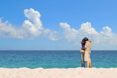 Romantic couple kissing at white sandy beach Royalty Free Stock Photo