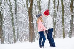 Young couple in winter forest. Romantic couple in knitted hats going to kiss during snowfall Royalty Free Stock Images