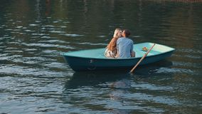 Romantic couple on the lake Royalty Free Stock Image