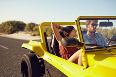 Romantic couple in long drive in countryside Stock Photos