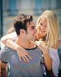 Romantic couple looking at each other smiling and having fun Stock Photo