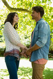 Romantic couple looking face to face while holding hands in garden. On a sunny day Stock Image