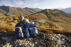 Romantic Couple Looking At Hills Stock Image