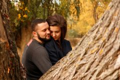 Romantic couple in love. In autumn park Royalty Free Stock Images